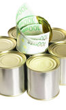 Euro bills on a tin can. Over white background Stock Image