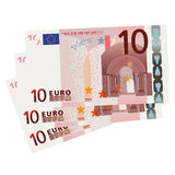 10 Euro bills. Vector drawing of a 3x 10 Euro bills (isolated Stock Illustration