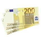 200 Euro bills. Vector drawing of a 3x 200 Euro bills stock illustration