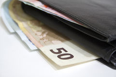 Euro bills in wallet Royalty Free Stock Images