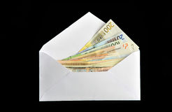 Euro bills in white envelope Royalty Free Stock Photo