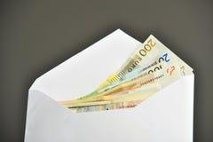 Euro bills in white envelope Royalty Free Stock Image