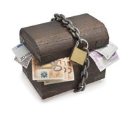 Euro bills and wooden trunk. royalty free stock photos