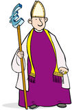 Euro bishop. Bishop cartoon holding a Euro symbol staff royalty free illustration