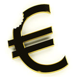 Euro With Bite Showing Devaluation Royalty Free Stock Images