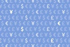 Euro blu Yen Pound Currencies Pattern Background del dollaro Fotografie Stock Libere da Diritti