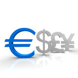 Euro. In blue color and other currencies Royalty Free Stock Image