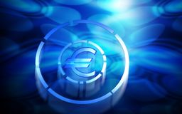 Euro in blue light Royalty Free Stock Photos