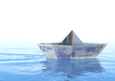 Euro Boat. Rendering of An twenty euro origami boat on the sea Stock Photo