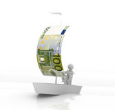 Euro Boat. A 3D illustration of a boat having a sail of Euro note Royalty Free Stock Photography