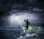 Euro boat in the crisis - investment risk Stock Photo