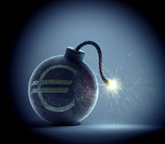Euro bomb. Vintage bomb with a Euro currency symbol on it and a lit fuse Stock Photos