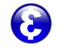 Euro bouton en verre de symbole d'argent Photographie stock