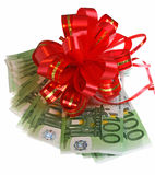 Euro and bow. A money is decorated a bow Stock Photo