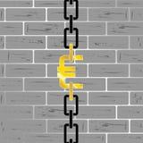 Euro on brick wall vector Stock Photography