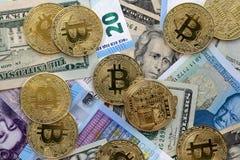 Euro BRITÁNICO de la UE de la libra de los dólares de EE. UU. de Bitcoin Foto de archivo libre de regalías