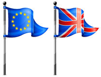 Euro & Britain flags Royalty Free Stock Photo
