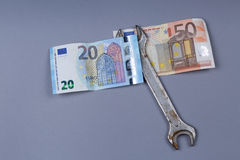 Euro and British Pound background stock images