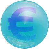 Euro Bubble. Symbol for Euro, blue bubble royalty free stock photography