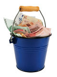 Euro in the bucket. Bank notes (Euro) in the enamel purple bucket, isolated on white Stock Photography