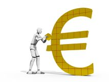 Euro Builder. Crash test dummie building a euro simbol over a white background Stock Images