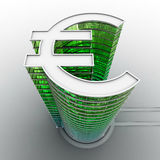 Euro building. 3D render of skyscraper in form of euro symbol Stock Images