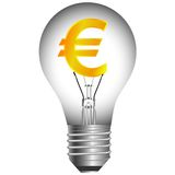 Euro bulb. On a white background . Vector illustration Royalty Free Stock Photos