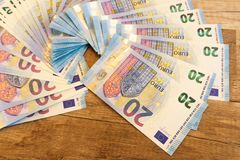 Euro a bunch of paper bills as part of the economic and trade European system. France Royalty Free Stock Photo