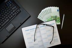 Euro in bureau Royalty-vrije Stock Fotografie