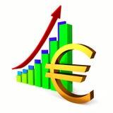 Euro business chart bar. Arrow chart bar, Euro sign, Business concept stock illustration