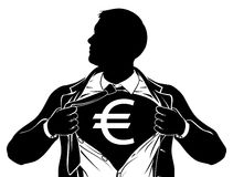 Euro Business Man Superhero Tearing Shirt Chest Stock Photos