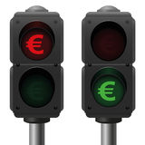Euro Business Symbol Traffic Lights Royalty Free Stock Image