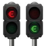 Euro Business Symbol Traffic Lights Royalty Free Stock Image