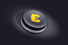 Euro button. Button with a golden euro sign Royalty Free Stock Photo