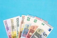 euro- cédula do conjunto completo isolada Fotografia de Stock