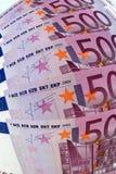 500 euro- cédulas, efeito ótico Imagens de Stock