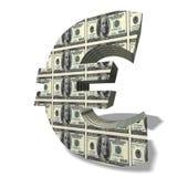 Euro cache de symbole monétaire en dollars Photos libres de droits