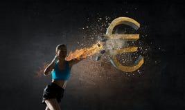 Euro caduta di currecy Media misti Fotografia Stock