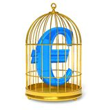 Euro in cage. Financial concept: blue Euro sign in golden bird cage isolated over white background Stock Photos