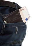 euro cajgów kieszeniowy portfel Zdjęcie Royalty Free