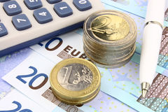 Euro Calculations Royalty Free Stock Images