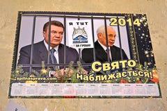 Euro calendrier maidan au cours de la réunion à Kiev, Ukraine, Images stock