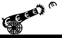 Euro cannon. Vector / illustration of a euro sign that is flying from a cannon Royalty Free Stock Image
