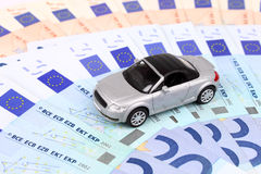 Euro Car. A general metaphor for car finance, sale, debt and costs Stock Photo