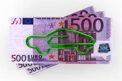 Euro car insurance. 3D render image representing euro car insurance Royalty Free Stock Image