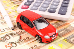 Euro Car Money. A general metaphor for car finance, sale, debt and costs Stock Photography