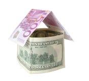 Euro- casa do dólar foto de stock