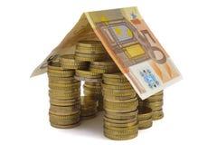 Euro- casa do dinheiro Fotografia de Stock Royalty Free