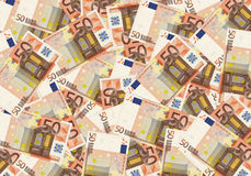 50 euro cash background money. Concept success rich economy. Royalty Free Stock Images