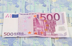 500 Euro cash. 500 Euro background on top of 20 euros paper royalty free stock images